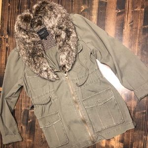 Sanctuary Military Jacket w/ Removable Fur Collar